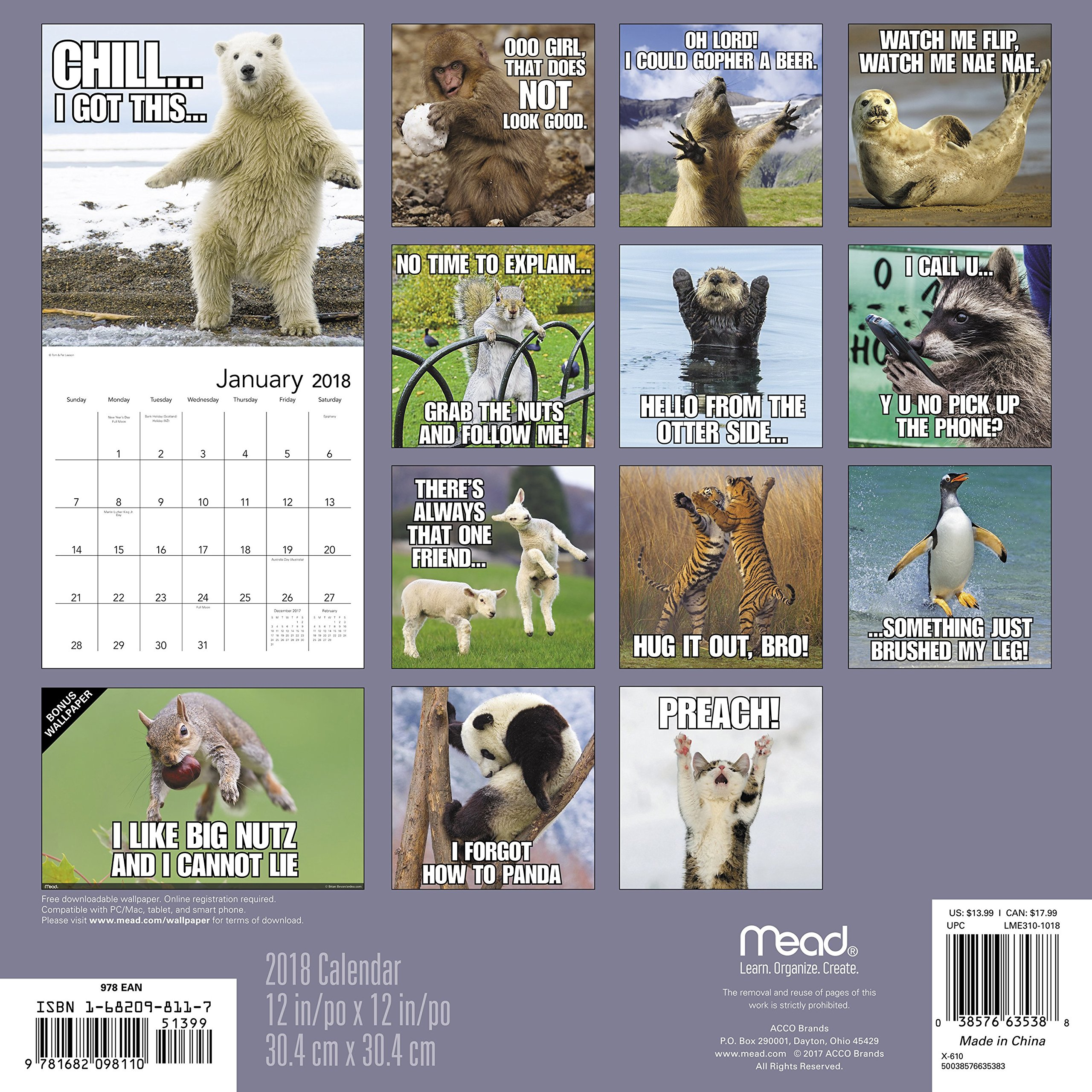 A1Otd %2BwkUL 2018 animal memes wall calendar (mead) mead 9781682098110