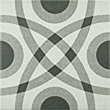 """SomerTile FRC8TWCR Fifties Ceramic Floor and Wall Tile, 7.75"""" x 7.75"""", White/Grey"""