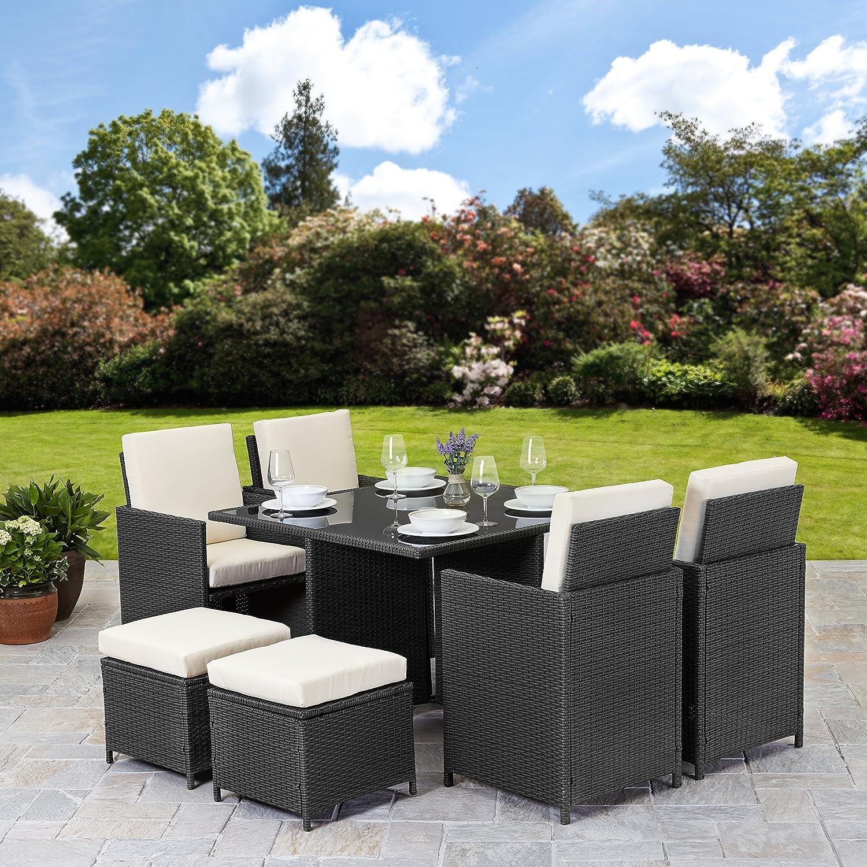 rattan cube garden furniture set 8 seater outdoor wicker 9pcs black amazoncouk garden outdoors