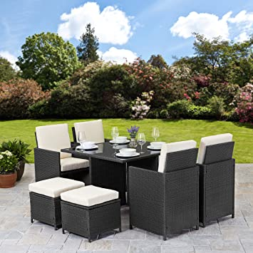 Plain Garden Furniture Uk Rattan Cube Set 8 Seater Outdoor Wicker Black Throughout Inspiration Decorating
