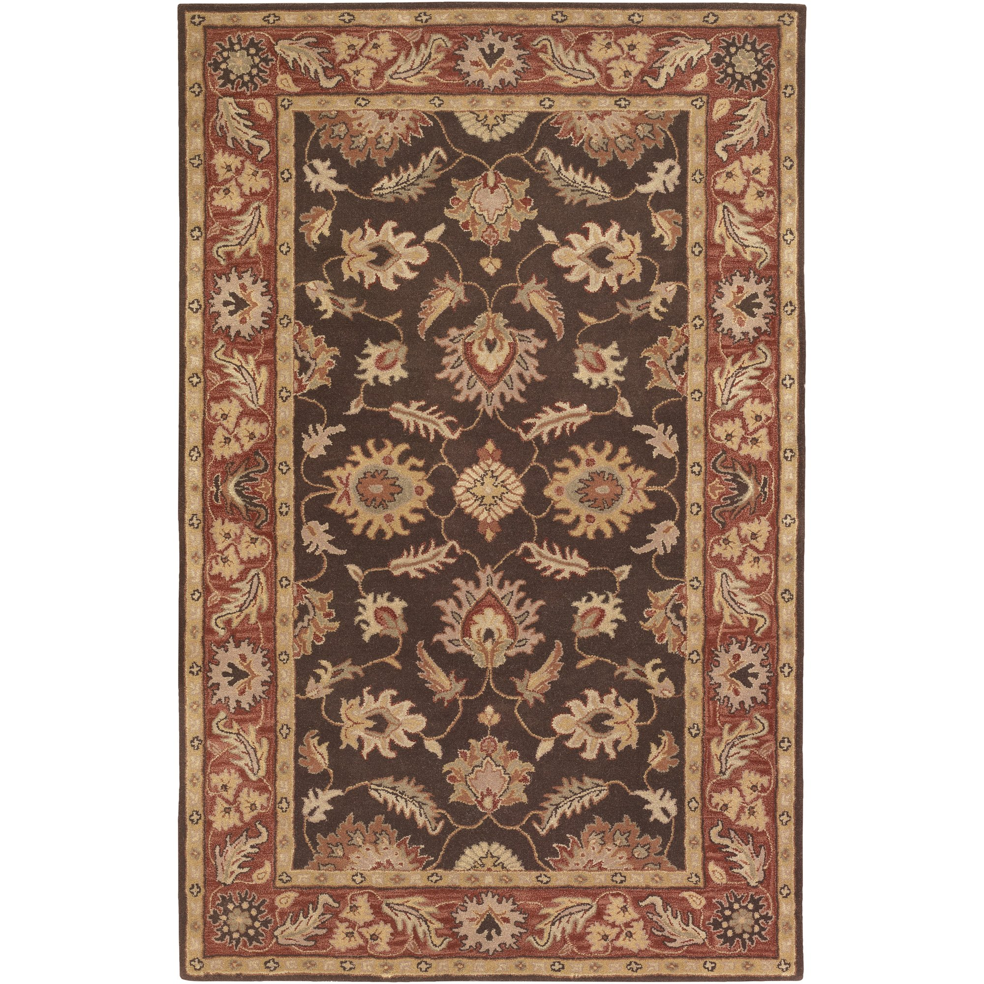 Surya Caesar CAE-1036 Classic Hand Tufted 100% Wool Dark Chocolate 2'6'' x 8' Traditional Runner
