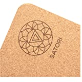 "SatoriConcept Cork Yoga Mat - 100% Eco Friendly Cork & Rubber, Lightweight with Perfect Size (72"" x 24"") and 4mm Thick…"