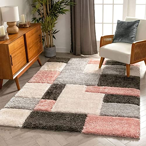 Well Woven San Francisco Escondido Blush Modern Geometric 3D Textured Thick and Soft Shag 3'11″ x 5'3″ Area Rug