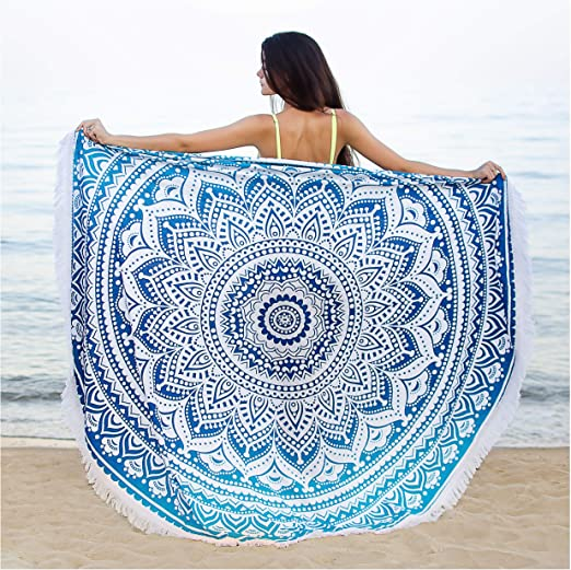 """72/"""" Blue Cotton Peacock Mandala Wall Hanging Tapestry Indian Beach Throw Round"""