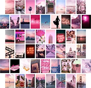Heather & Willow Photo Collage Kit for Wall Aesthetic Pictures 50 Set 4x6 Inch   Boho Cottagecore Indie Room Decor   Cute Wall Art for VSCO Girls   Pink Teen Girls Bedroom Decor - Neon Pink