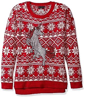 8df3b7dbcf Amazon.com  Blizzard Bay Women s Glitter Unicorn Ugly Christmas Sweater   Clothing