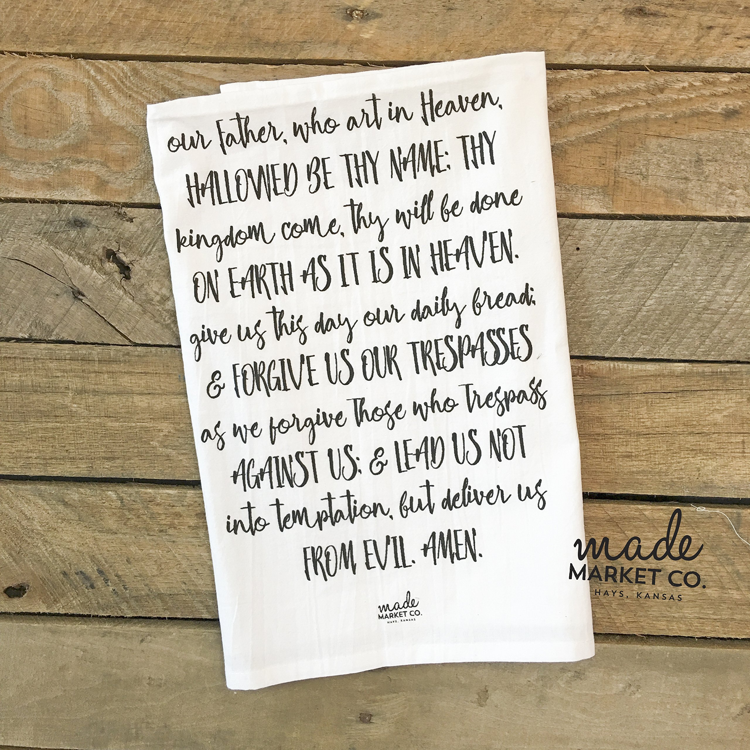 Our Father Prayer Tea Towel, Gift for Her, Kitchen Linens Decor Bathroom, Best Seller, Most Popular Item