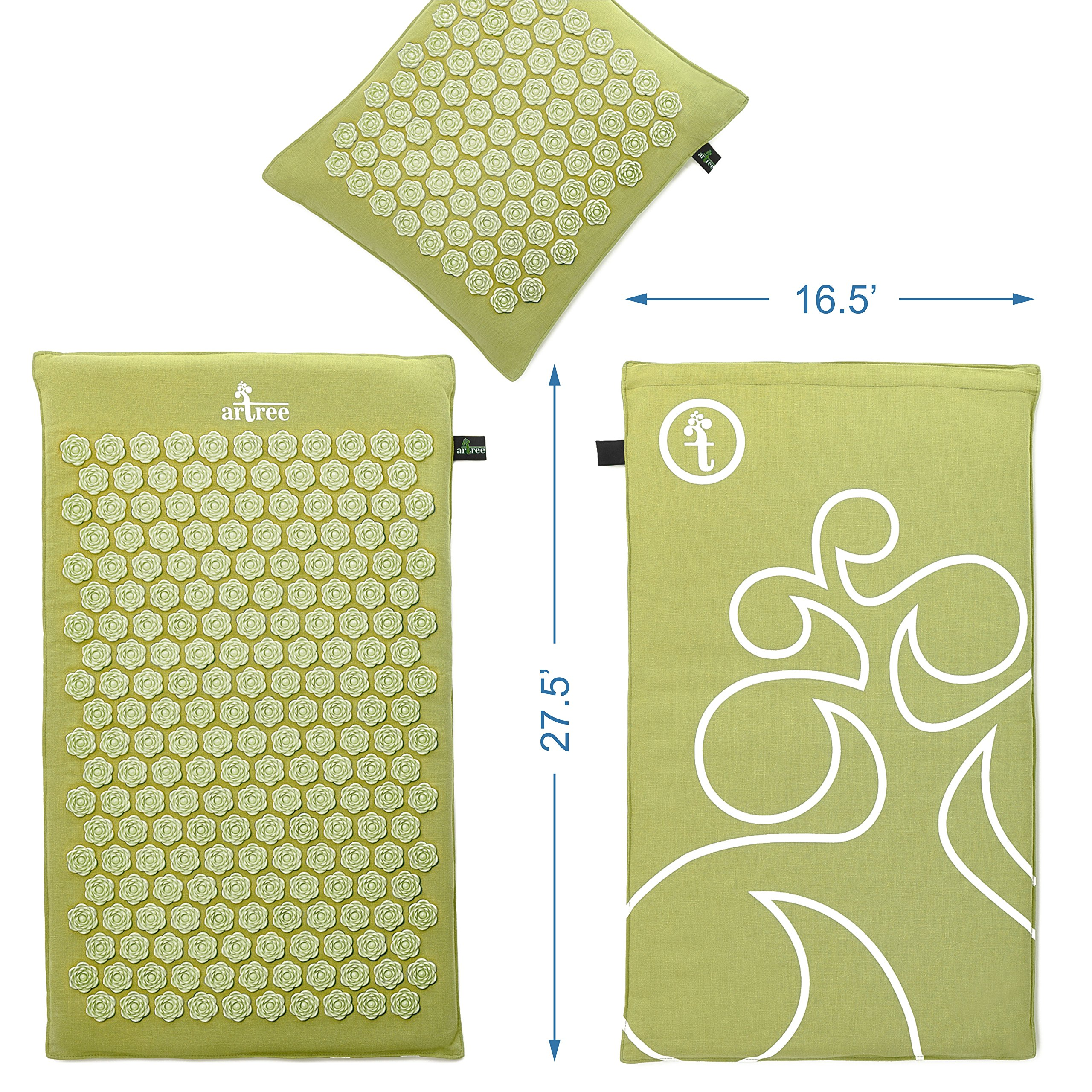 New Version Professional Acupressure Mat and Pillow Set Natural Linen – Best Acupuncture Mat Gift – Back and Neck Pain Relief Reflexology Mat – for Women and Men - Stress and Muscle Relief (Green) by Artree (Image #2)