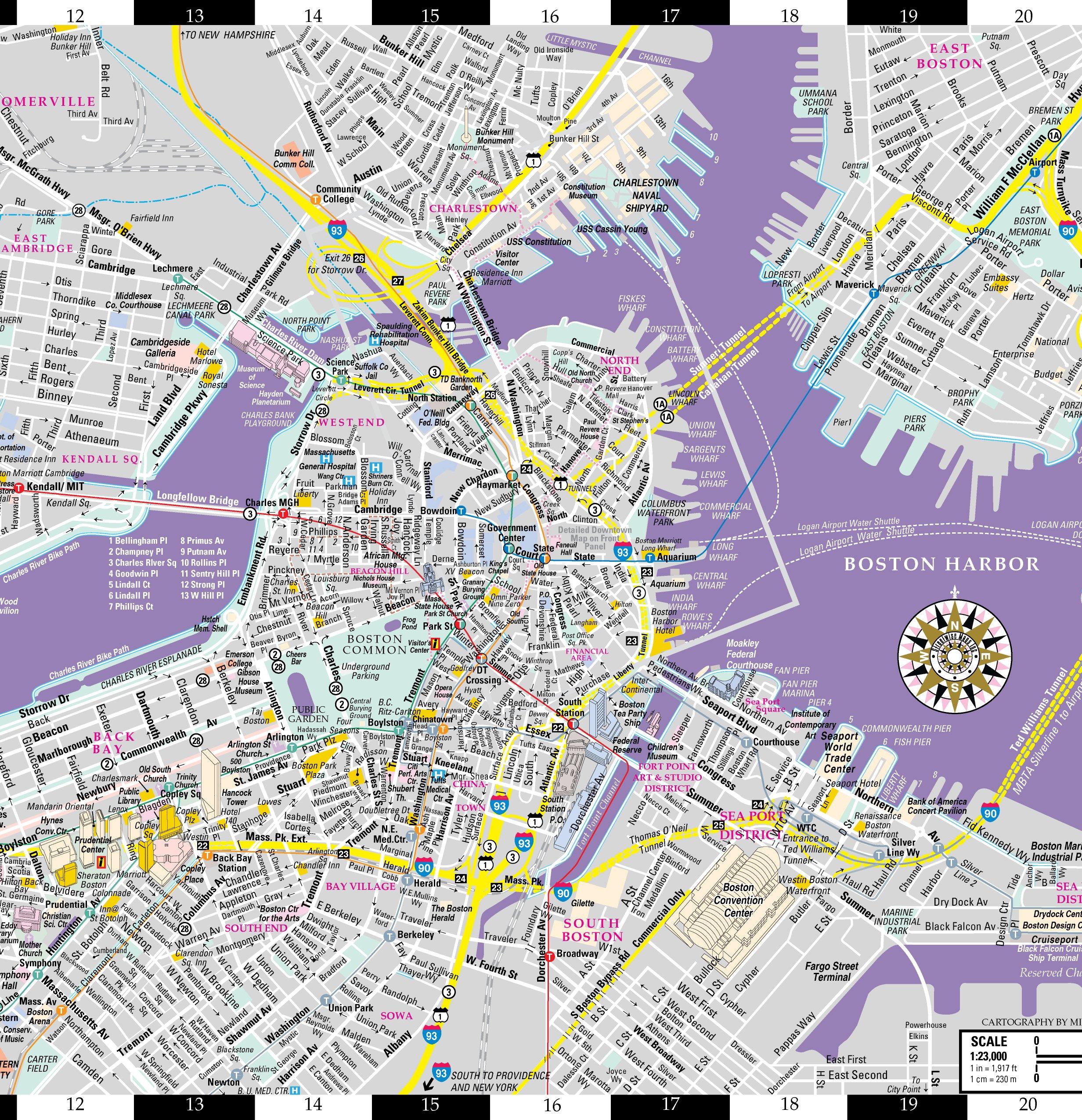 Streetwise Boston Map Laminated City Center Street Map Of Boston - Map of boston vicinity