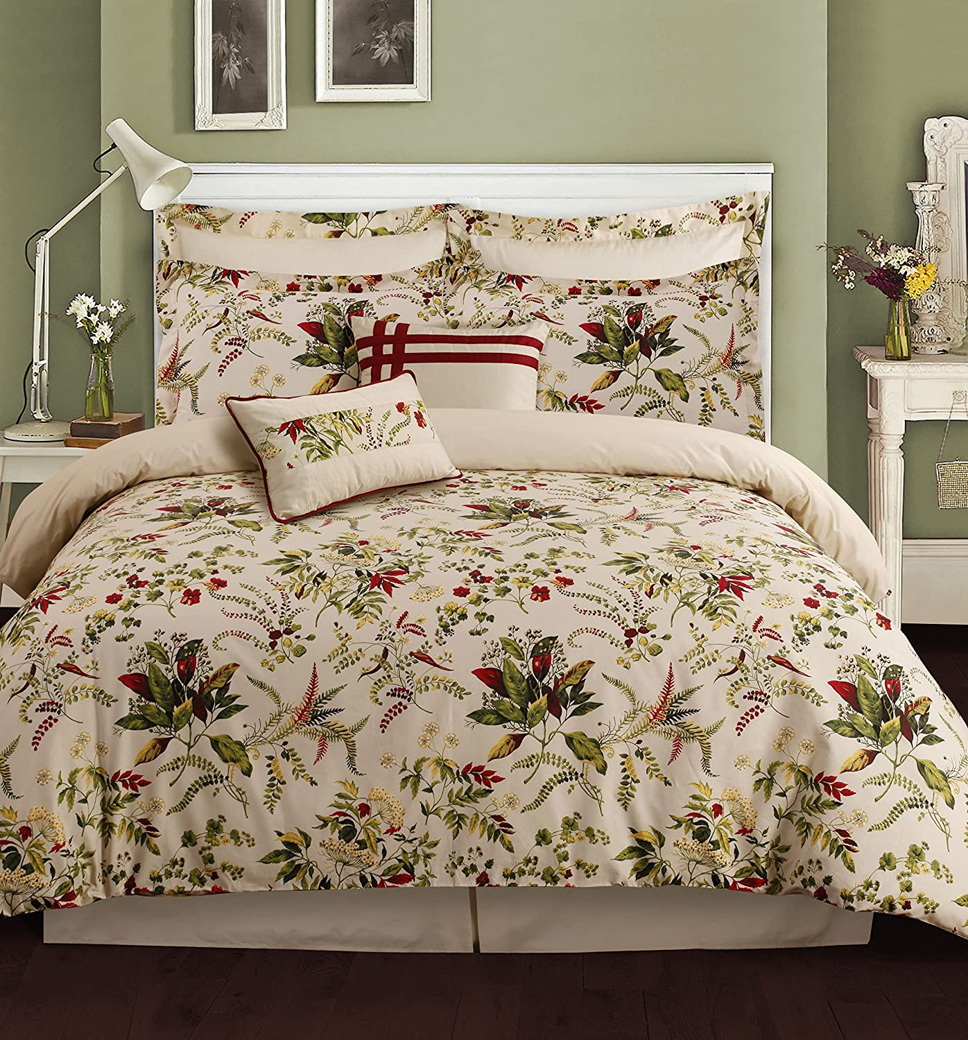 5-Piece Egyptian Cotton Percale Printed Duvet Cover Set King