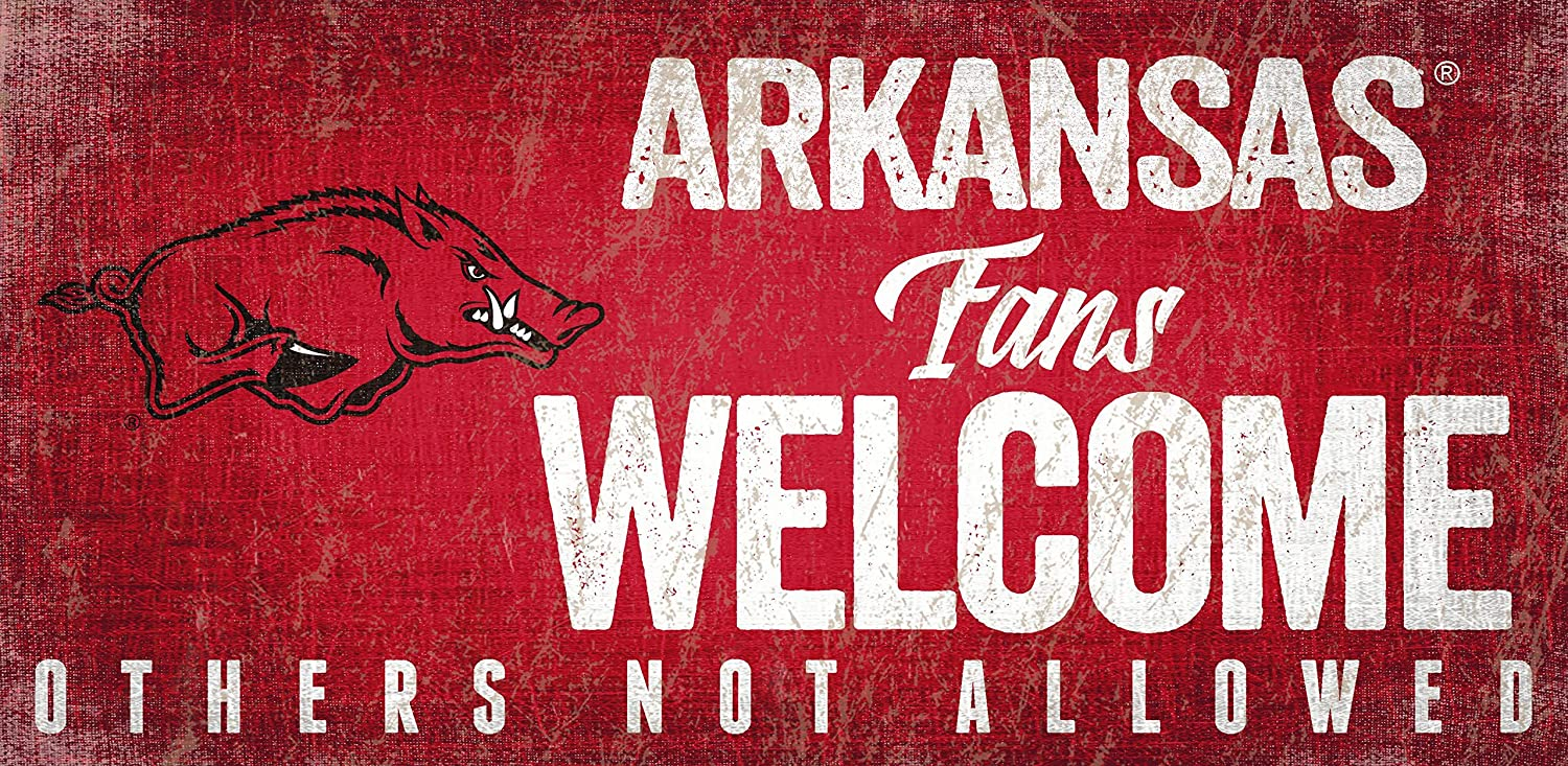 Arkansas Razorbacks 6 x 12 Fans Welcome Others not Allowed Wood Sign