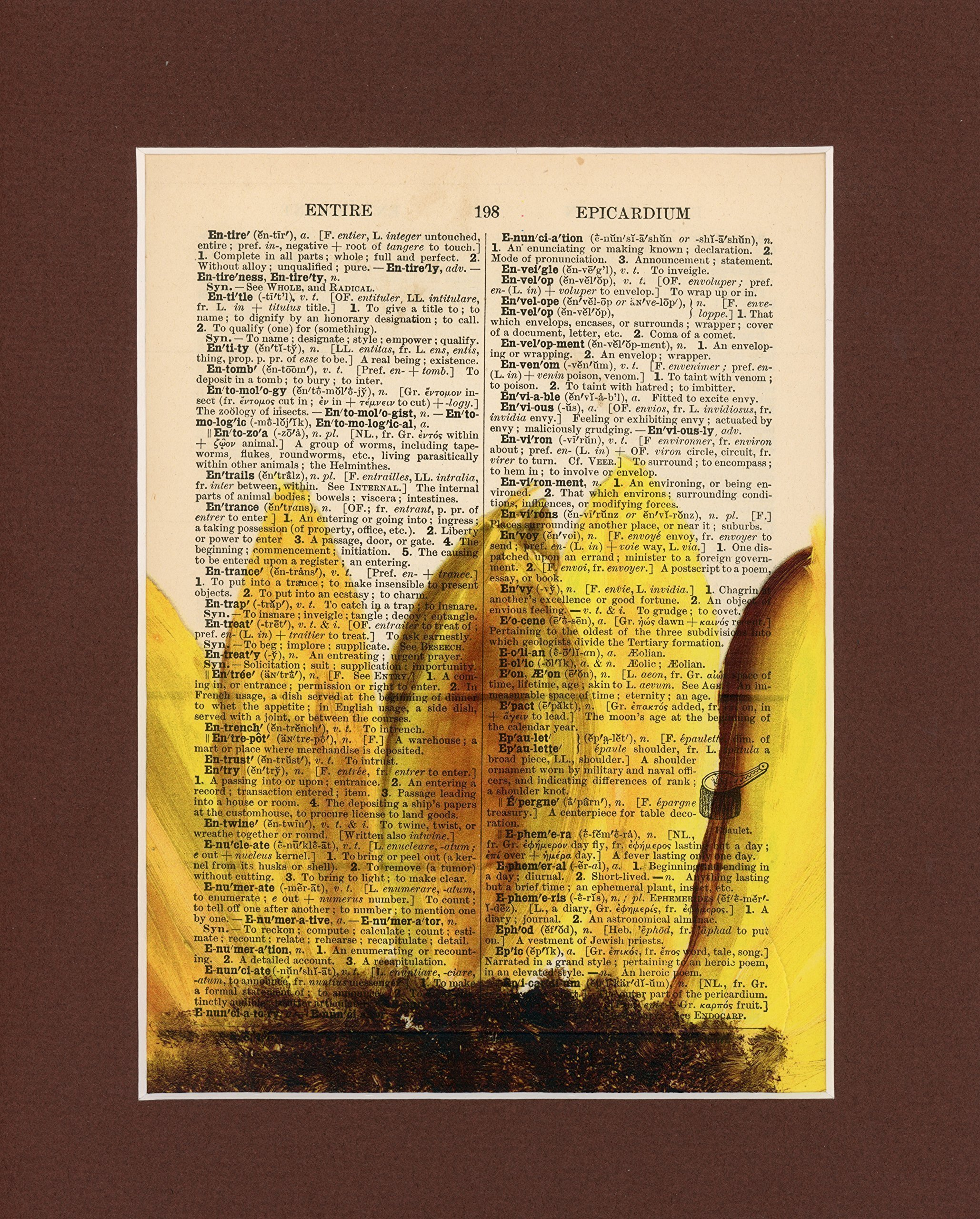 Sun City Vintage Dictionary Art Print-Yellow Sunflower by Sun City Art