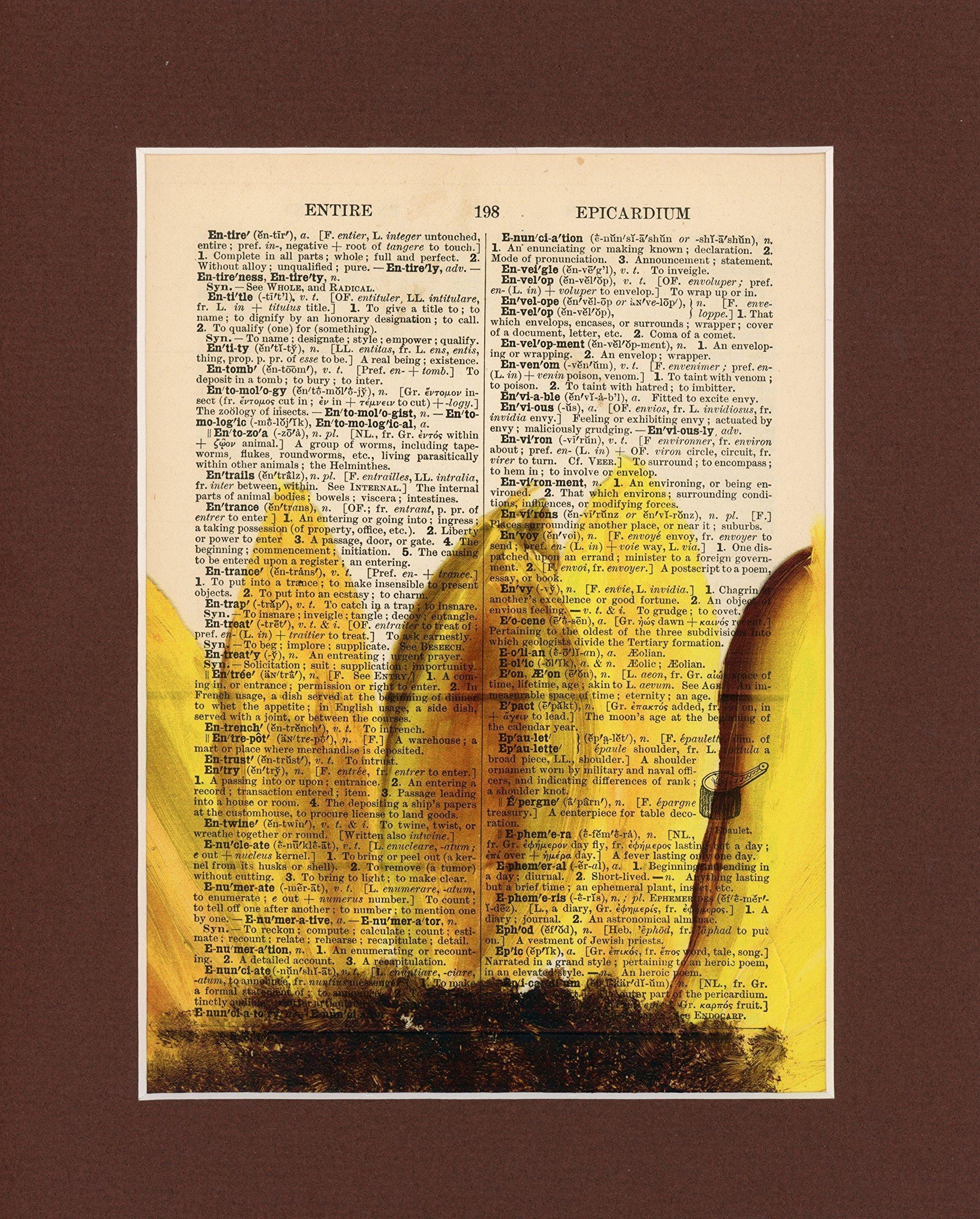 Sun City Vintage Dictionary Art Print-Yellow Sunflower