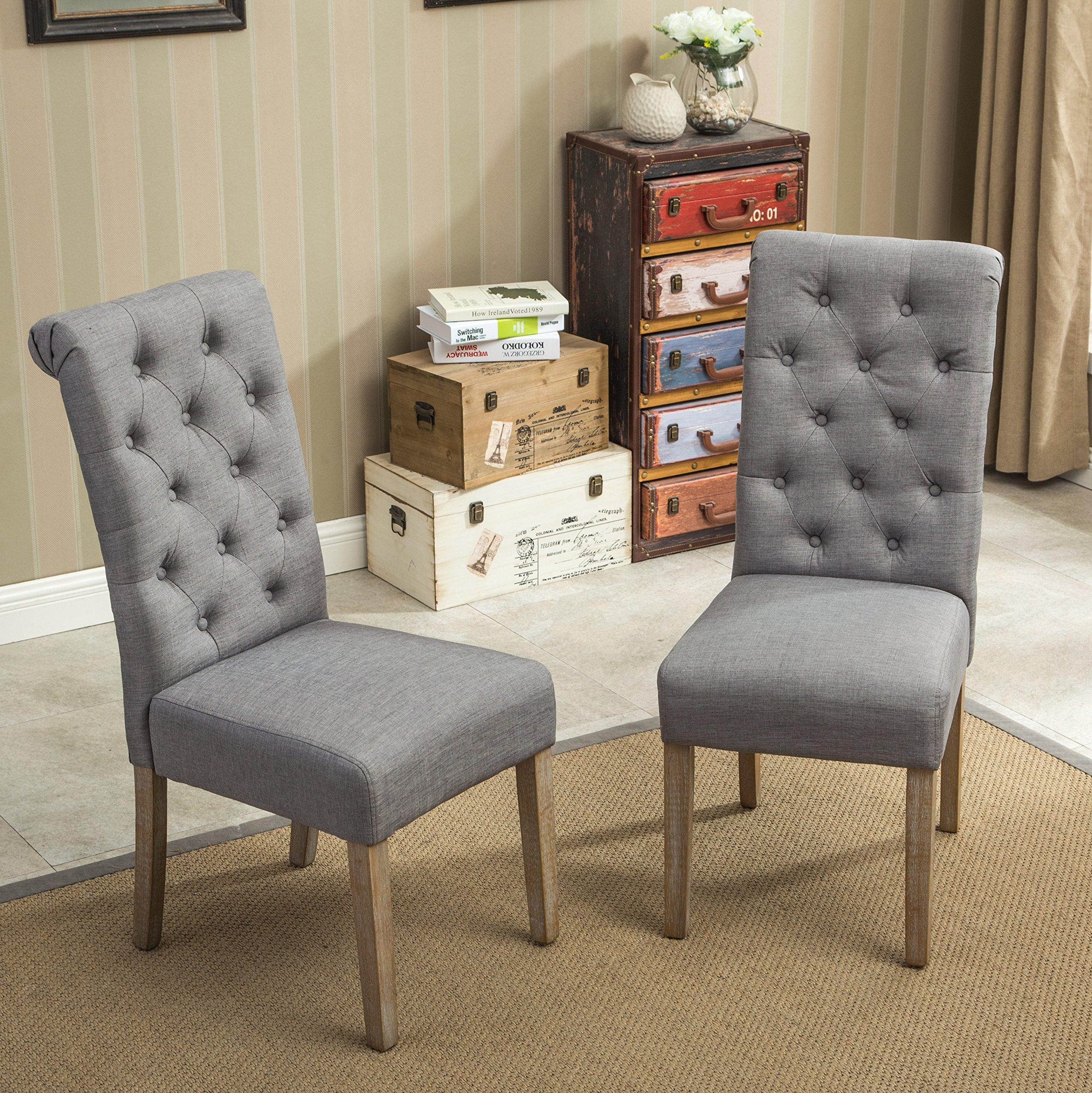 Roundhill Furniture Habit Grey Solid Wood Tufted Parsons Dining Chair (Set of 2), Gray by Roundhill Furniture (Image #3)