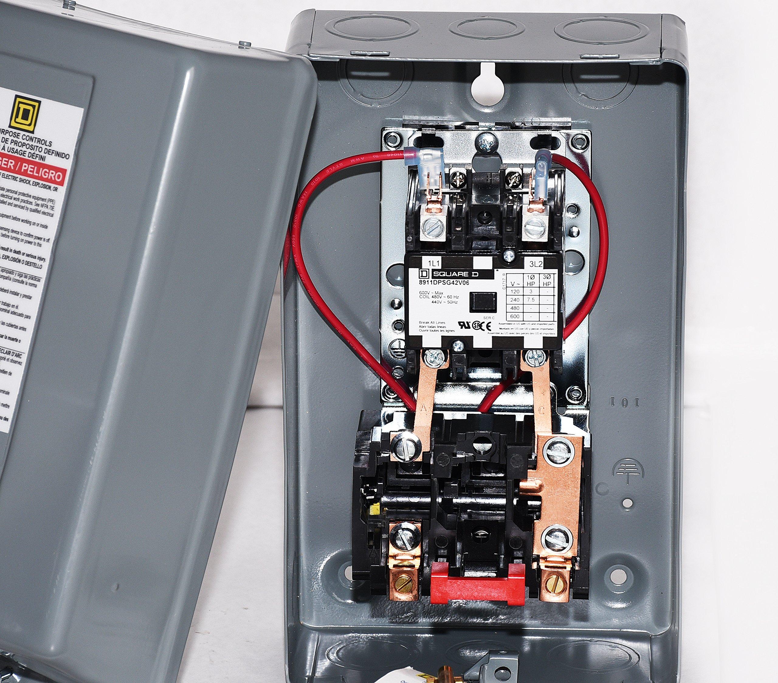 SQUARE D MAGNETIC STARTER CONRTROL ELECTRIC MOTOR 8911DPSG42V09 7.5HP 1-PH 230V by I.E.E (Image #4)