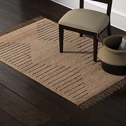 Stone Beam Modern Jute Area Rug, 4 x 6 Foot, Nuetral Multicolor