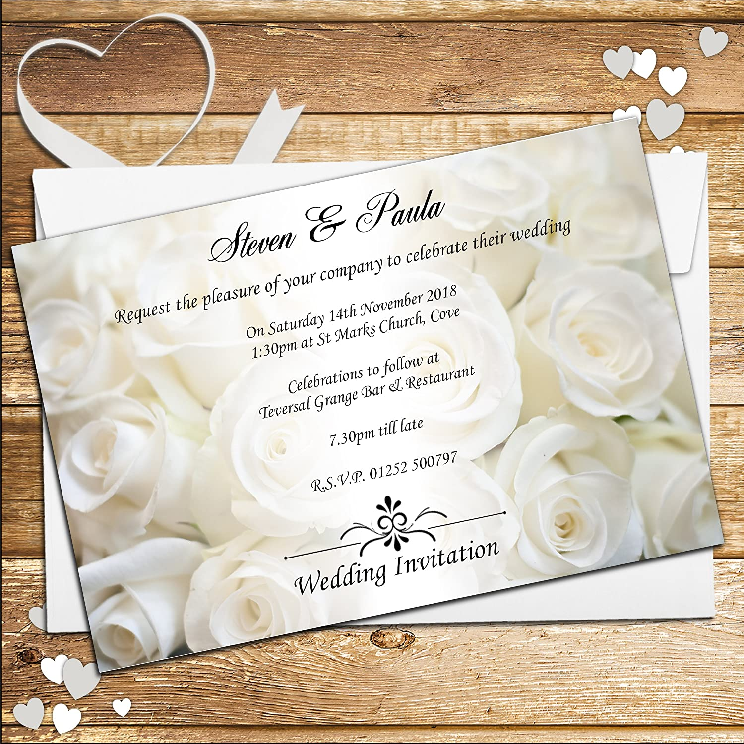 10 Personalised White Rose Wedding Invitations N50: Amazon.co.uk ...