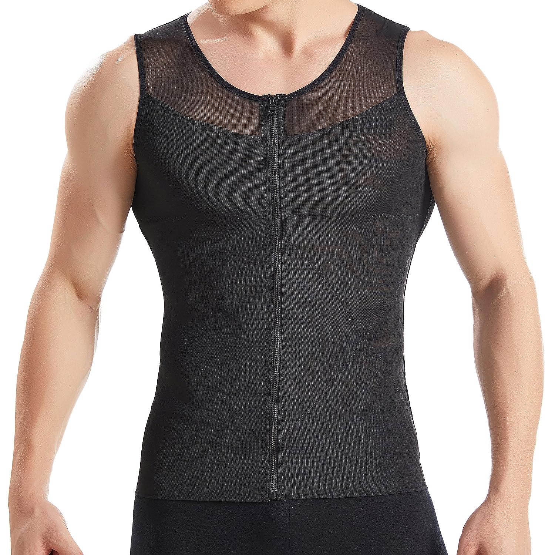 HANERDUN Mens Slimming Body Shaper with Zipper Compression Shirt Slim Shapewear
