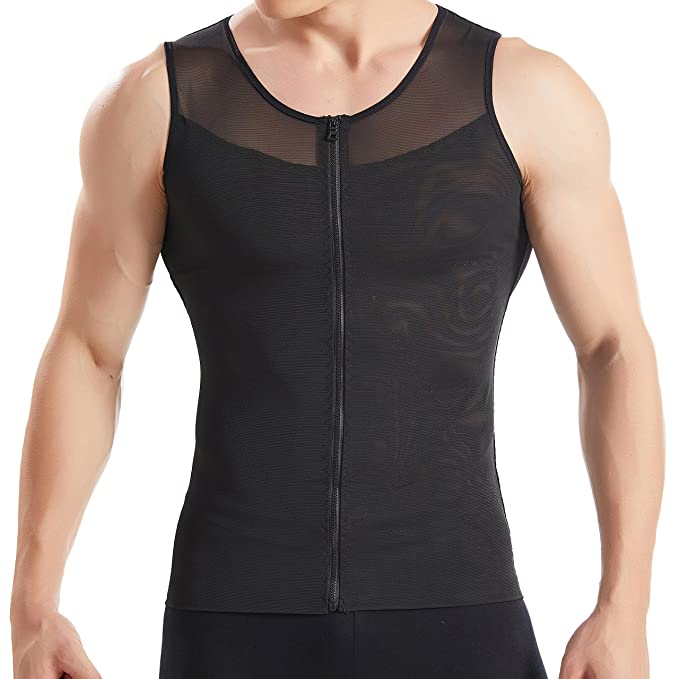 00c542c6f70 Hanerdun- Mens Slimming Body Shaper Shirt With Zipper Abs Abdomen Slim
