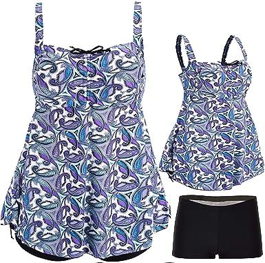 d98ddb210aca8 Amazon.com: ANTSANG Womens Plus Size Swimsuits Swimwear Bathing Suit Two  Piece Tankini Floral Print: Clothing