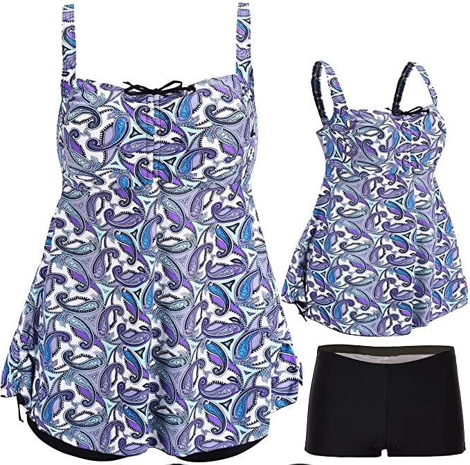 ANTSANG Womens Plus Size Swimsuits Swimwear Bathing Suit Two Piece Tankini  Floral Print