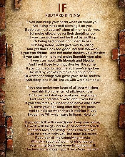 Rudyard Kipling Poem If Motivational Poster Print Picture Or Framed Wall Art Decor Inspirational Poems Collection Holidays 8x10 Unframed
