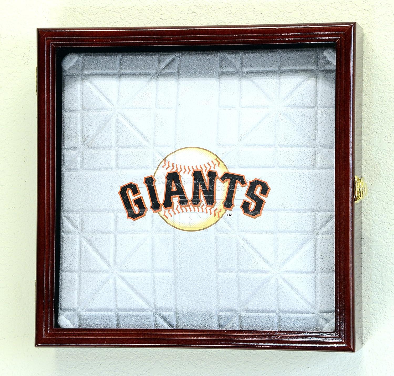 Full Size Baseball Base Plate Display Case Cabinet Shadowbox Holder 98% UV (Cherry Finish)