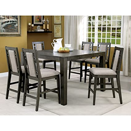 Gentil Furniture Of America Basson Rustic 7 Piece Grey Counter Height Dining Set