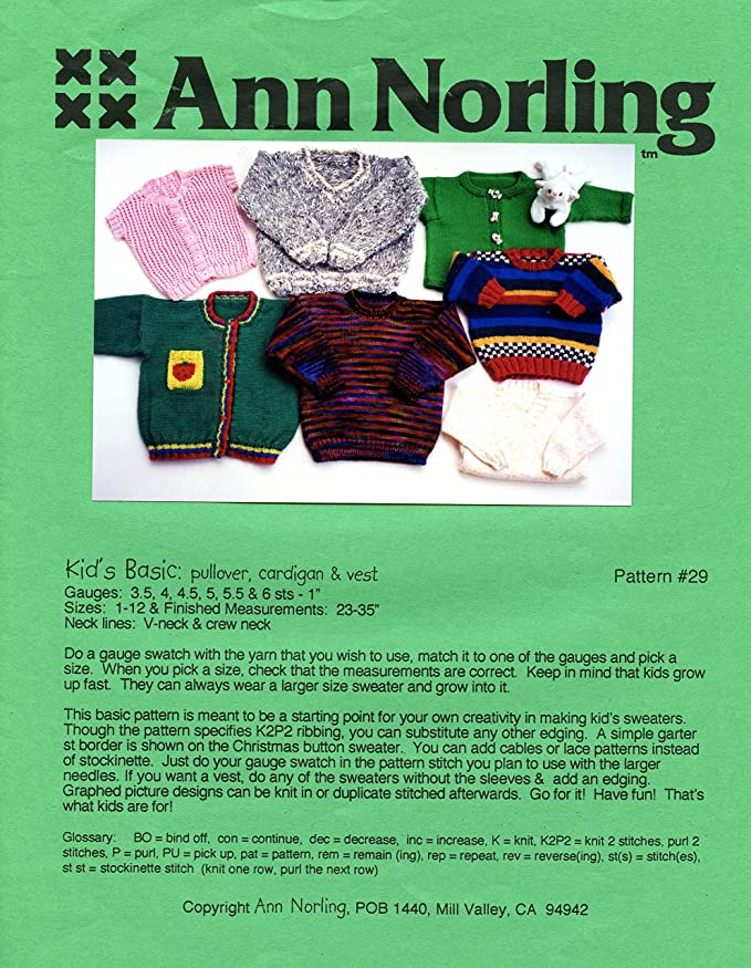 Amazon Ann Norling Knitting Pattern 29 Kids Basic Pullover