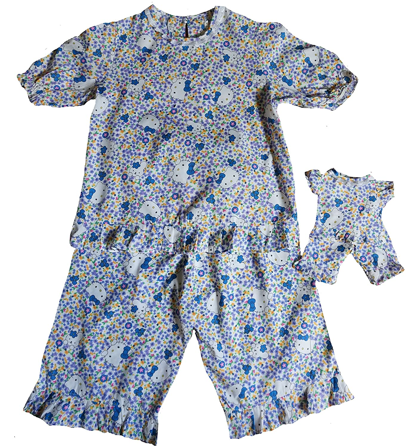 Size 10 Matching Girl and Doll Kitten Print Pajamas Doll Clothes Superstore