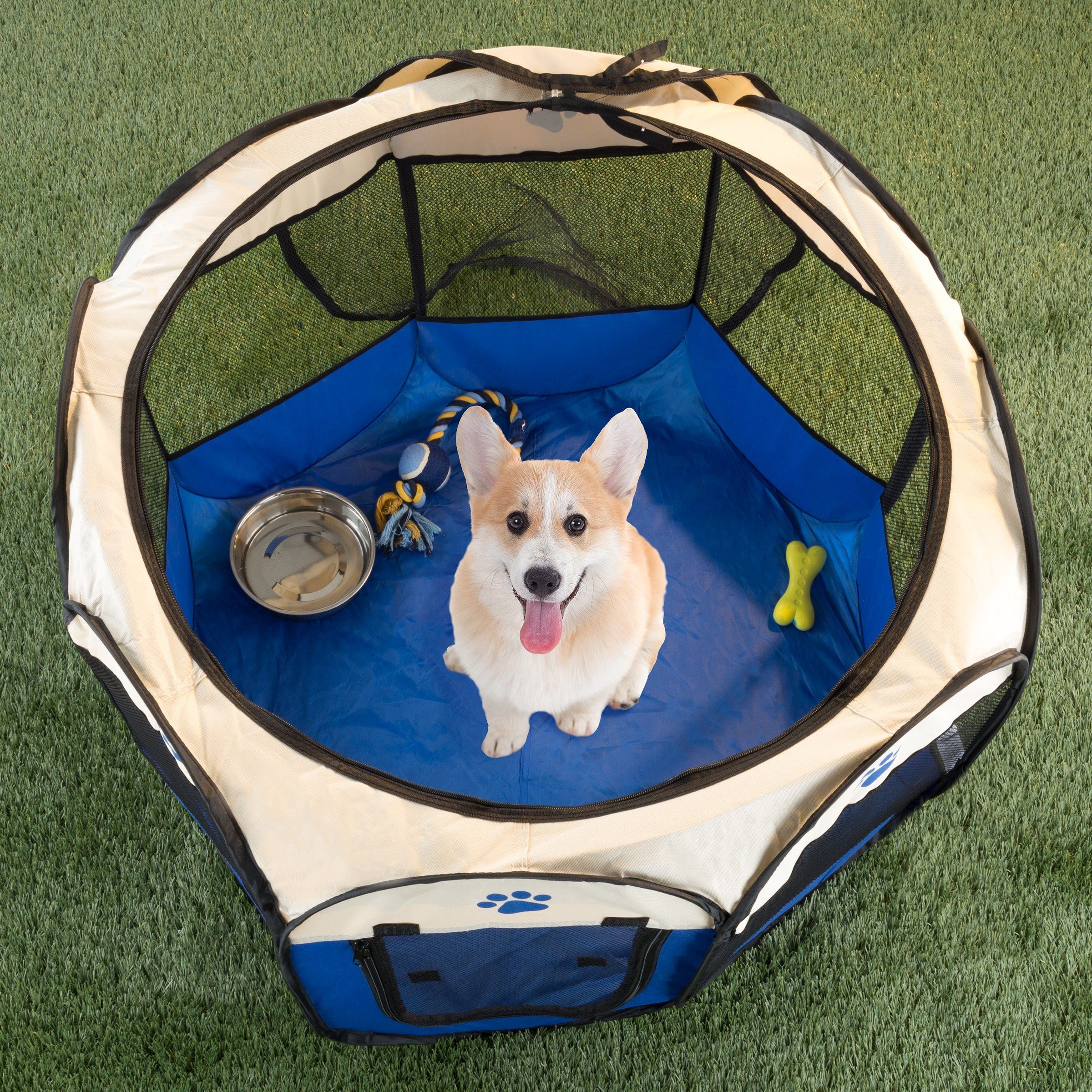 """PETMAKER Pop-up Pet Playpen with Carrying Case for Indoor/Outdoor Use 31.5"""" x 22""""-Portable for Travel-Great for Dogs, Cats, Small Animals (Blue)"""