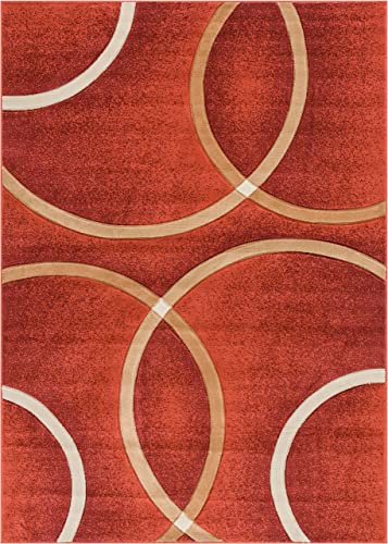 Well Woven Circo Orange Modern Geometric Rings Circles Lines Hand Carved Modern Area Rug 5 x 7 5 3 x 7 3 Easy to Clean Stain Fade Resistant Contemporary Thick Soft Plush