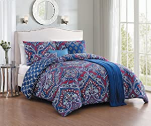 Avondale Manor Cantara 7 Piece Comforter Set, Queen, Blue
