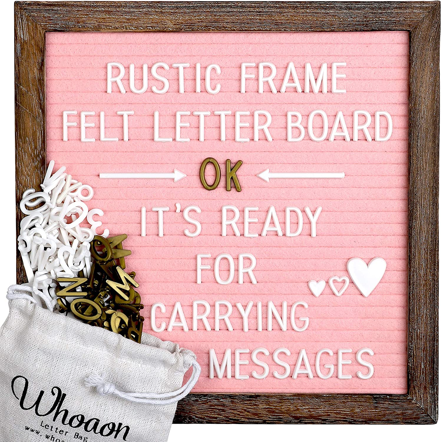 Rustic Wood Frame Pink Felt Letter Board 10x10 inch. Precut White & Gold Letters, Script Cursive Words, Wood Stand. Wall & Tabletop Board Sign for Farmhouse Home Decor. Pink Felt Message Board