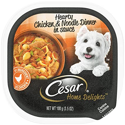 CESAR HOME DELIGHTS Wet Dog Food Hearty Chicken & Noodle Dinner in Sauce, (24