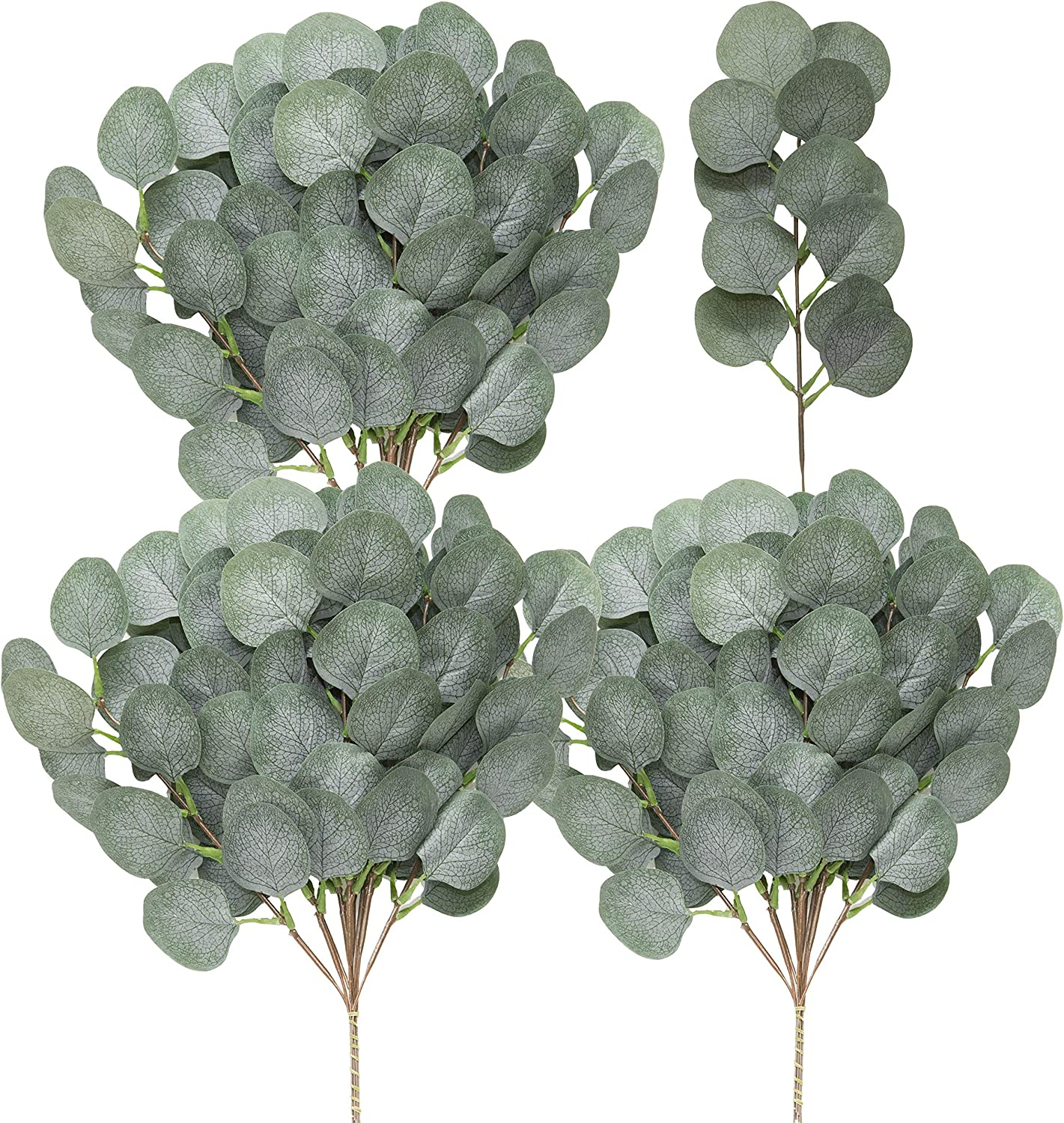 SUUKI Fake Eucalyptus Leaves Stems Artificial Greenery Branches 10Pcs Silver Dollar Dried Plants Silk Flowers Garland Bulk for Home Farmhouse Indoor Wedding Party Holiday Vase Decor (Grey Green)