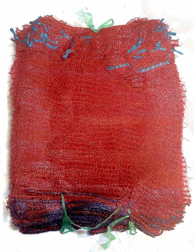 VRYSAC - 100 sacos malla 32x44 raschel rojo, con cerrador, para 5kg de naranjas, cebollas, limones o unos 3kg de nueces