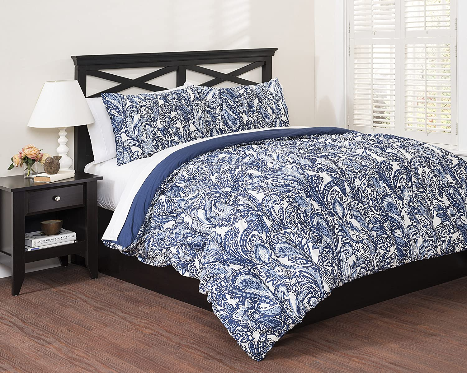 Republic Paisley Indigo Reversible Comforter Set, Full/Queen, Full/Queen