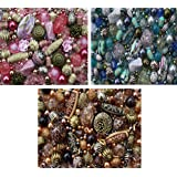 Approx 1200 Jewellery Beads includes 3 x sets of Pink Blue and brown Jewellery Making Mixed Beads