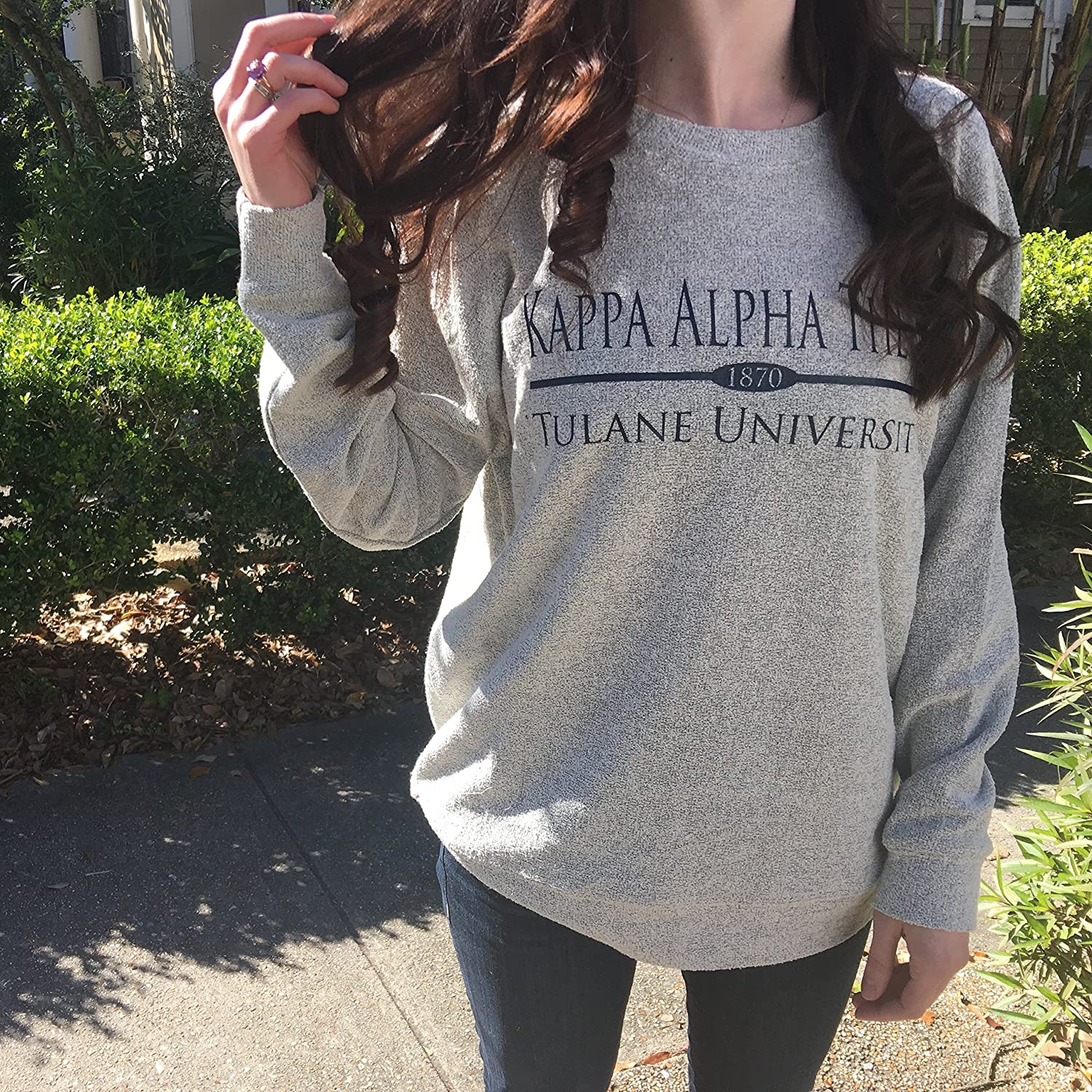 Sorority Cozy Fleece Sweatshirt with Preppy Bar Design