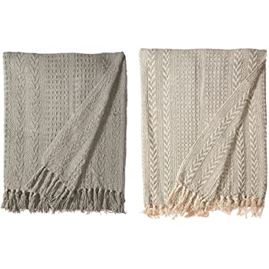 Amrapur Overseas Allure 100% Cotton Throw Batik, Silver Sage, Standard (Pack of 2)