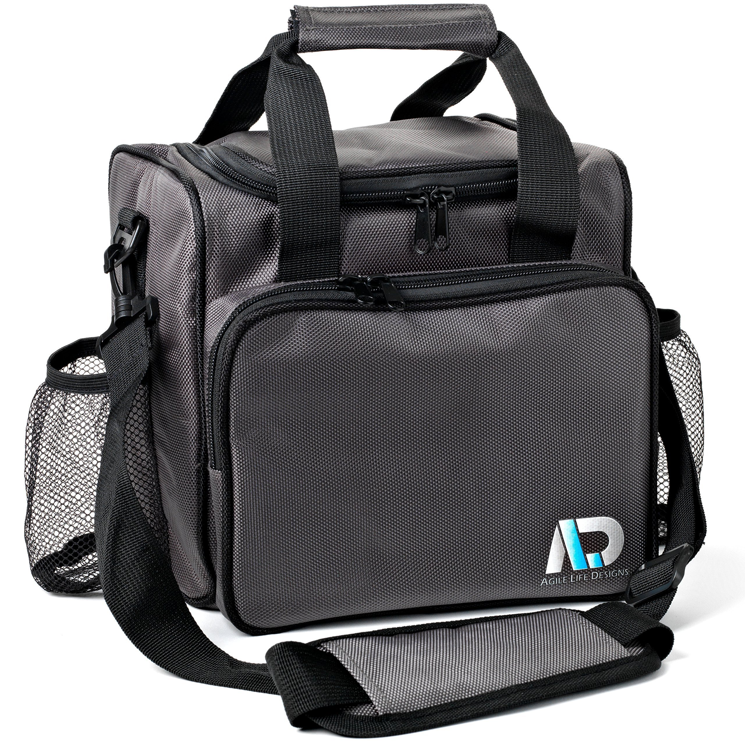 Agile Life Designs Large Lunchbox, Premium Quality Men and Women's Insulated Bag with 2 Mesh Bottle Pockets by AGILE LIFE DESIGNS
