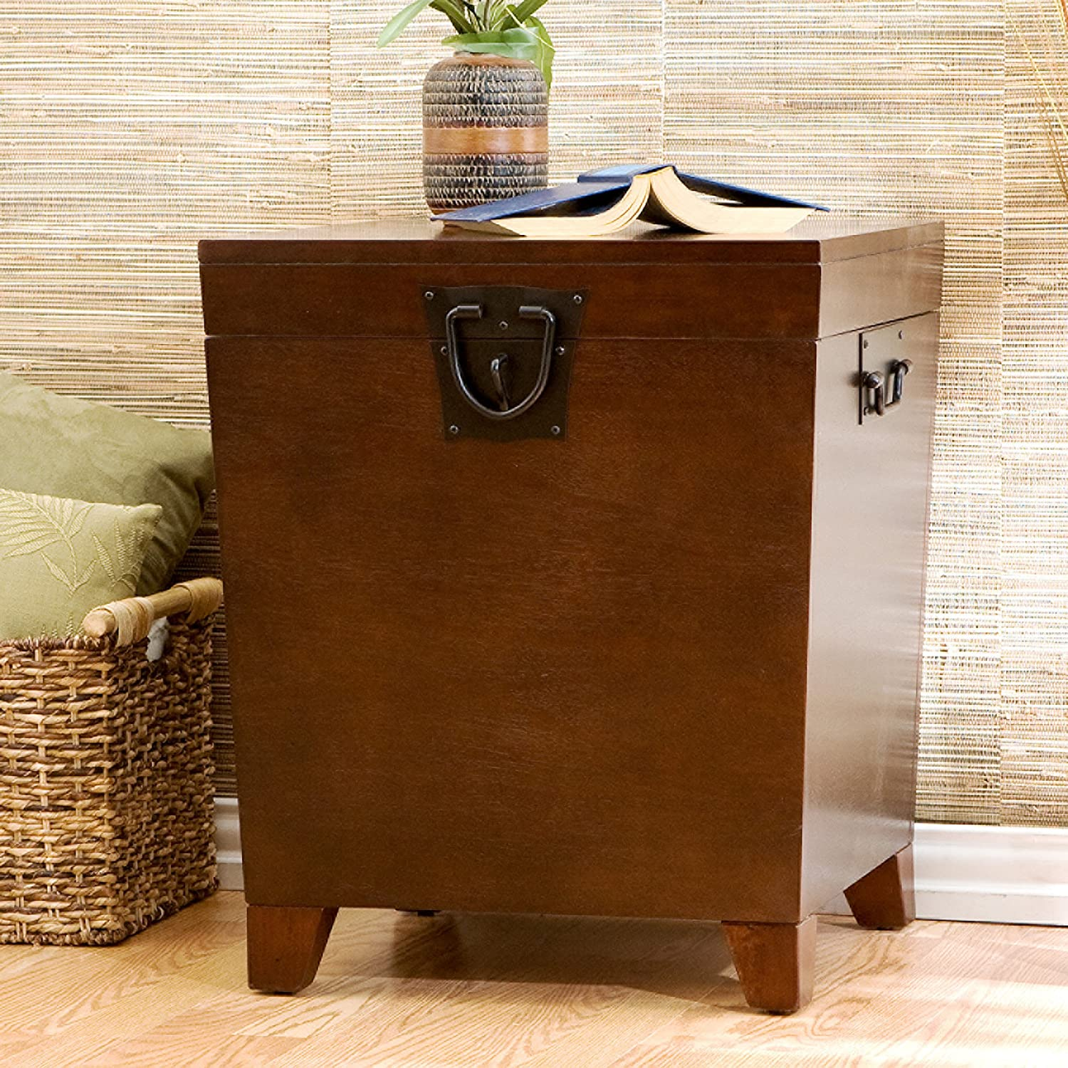 Southern Enterprises Pyramid Storage Trunk End Table, Espresso Finish