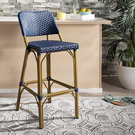 Astonishing Safavieh Fox5208D Home Collection Deltana Navy Rattan Indoor Outdoor Bar Stool Ibusinesslaw Wood Chair Design Ideas Ibusinesslaworg
