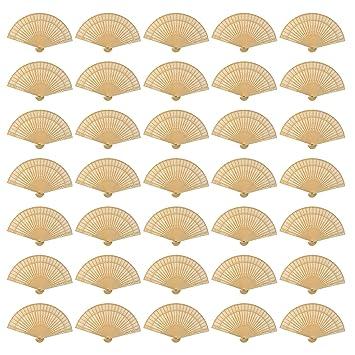 Amazon.com: Paquete de 60 abanicos Wobe de madera de sándalo ...