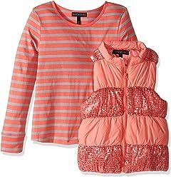 ece41662ae1cf Derek Heart Baby Girls' Big 2 Piece Set Puffy Vest with Sequin Trim and Long
