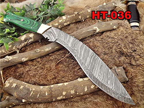 Damascus Steel Kukri Knife 15 Inches Custom Made Hand Forged with 10 Long Blade, Green Dollar Wood with Brass Scale, Cow Leather Sheath