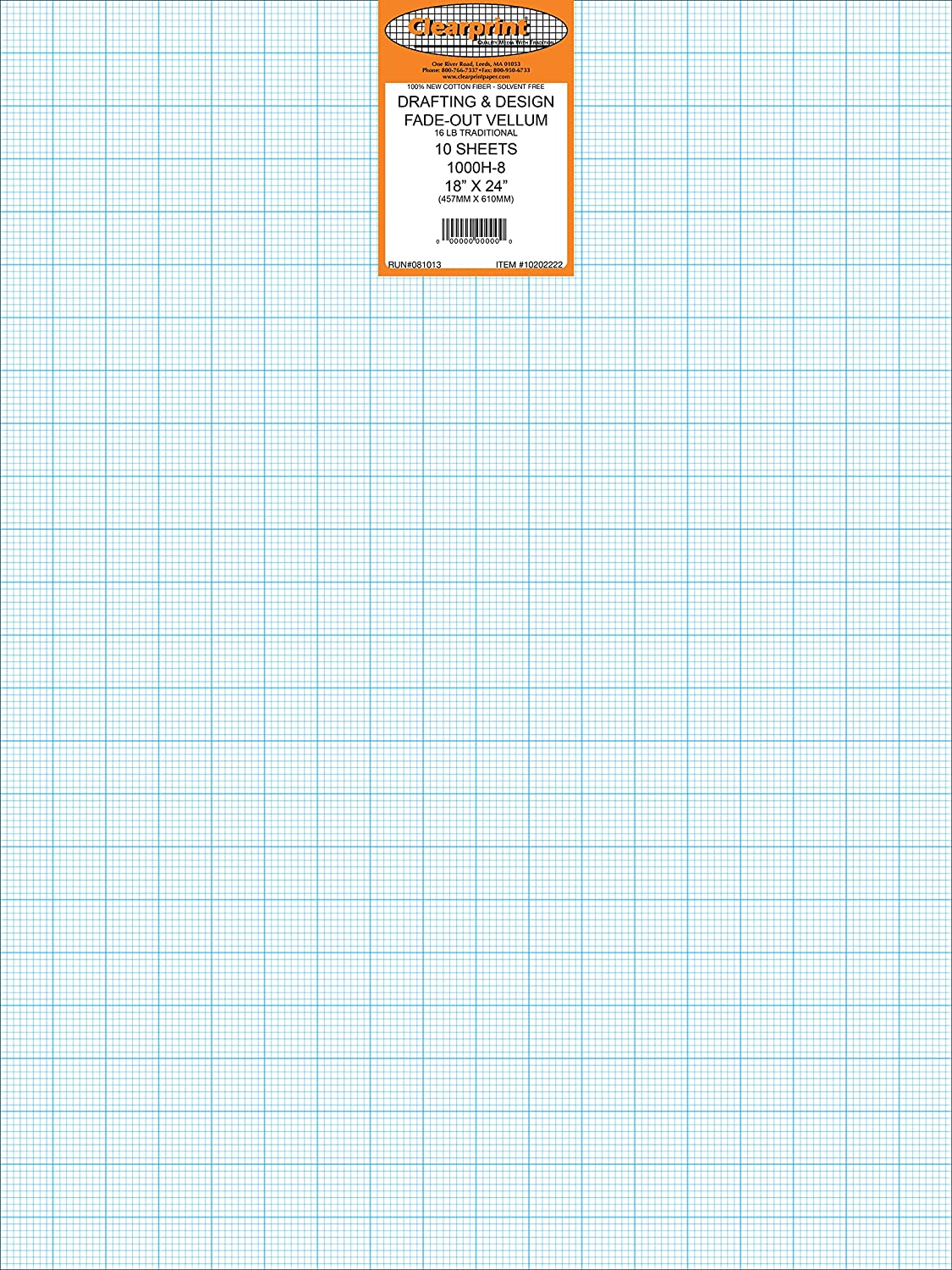 24 x 36 Inches 16 lb Clearprint 1000H Design Vellum Sheets with Printed Fade-Out 8x8 Grid 10202228 100/% Cotton 10 Sheets//Pack Translucent White