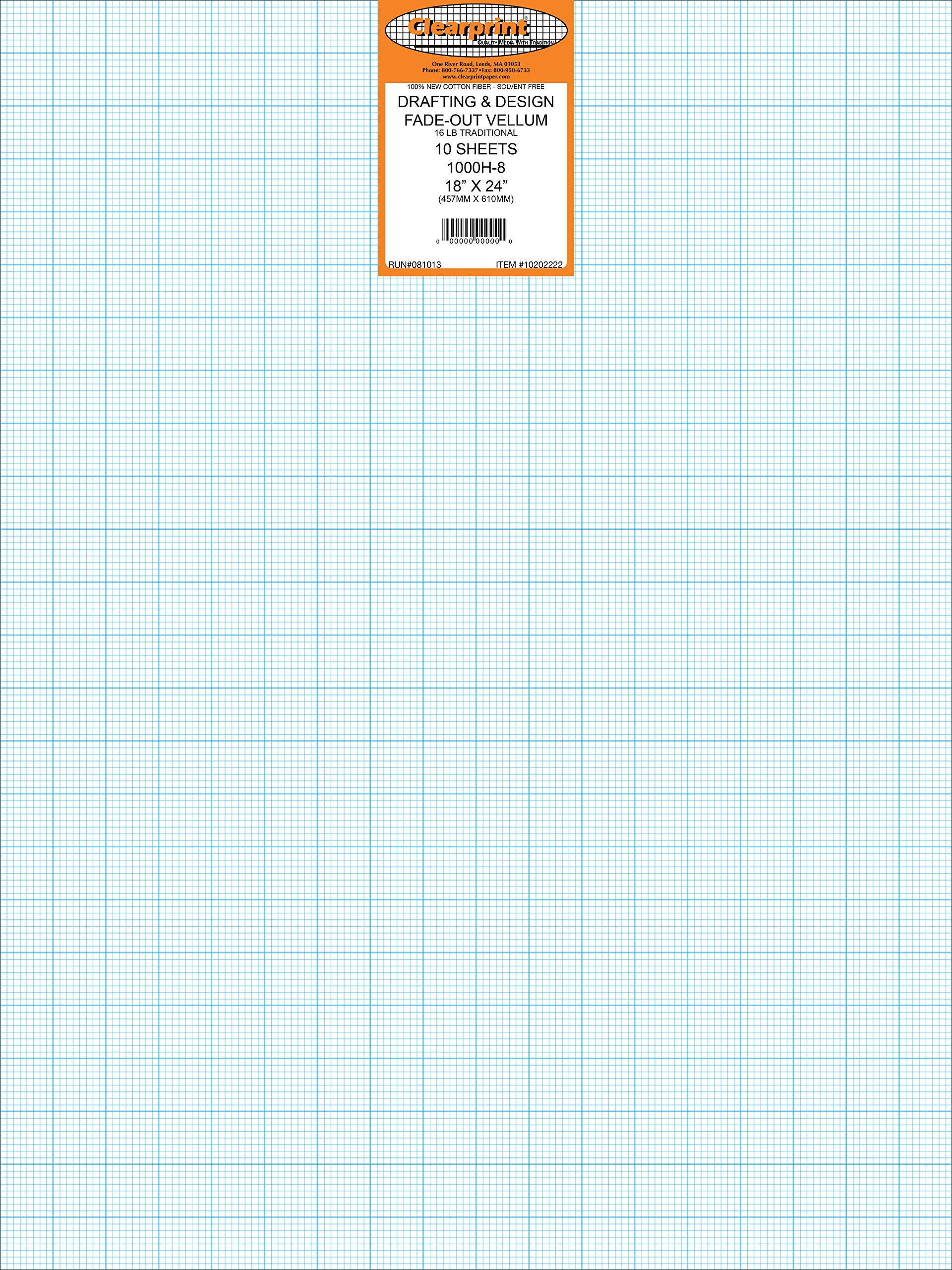Clearprint 1000H Design Vellum Sheets with Printed Fade-Out 8x8 Grid, 16 lb, 100% Cotton, 18 x 24 Inches, 10 Sheets/Pack, Translucent White (10202222)
