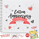 2ND ANNIVERSARY GIFTS FOR COUPLES BY YEAR - Two Year Booklet with Matching Card for Cotton Anniversary. Second Anniversary Memory Journal - Unique 2 Year Wedding Gift for Husband or Wife!